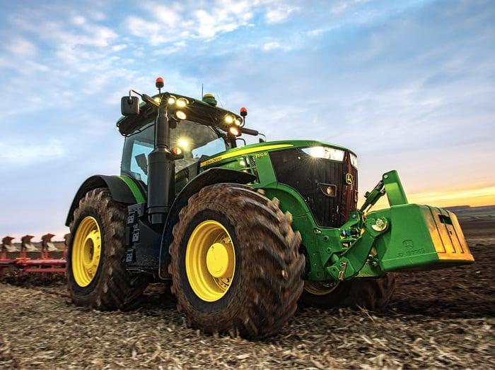 Deere tractor in the field
