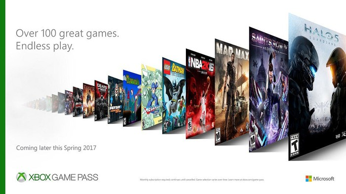 A teaser for Xbox Game Pass showing some available games.