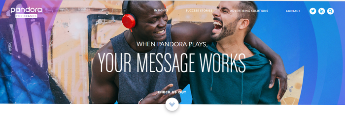 Two people listening to Pandora and having a good time.