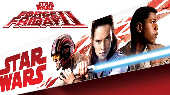 Packaging for the new Star Wars themed toy line, featuring striking images of a lightsaber-wielding Rey, Poe Dameron, and Finn.