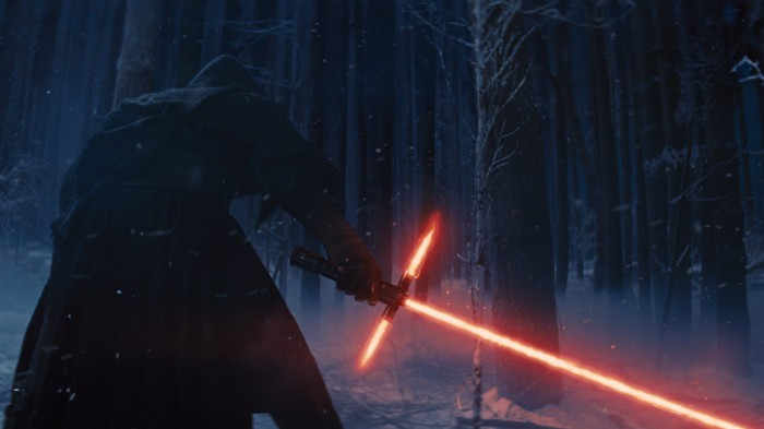 Kylo-Ren with light- saber.