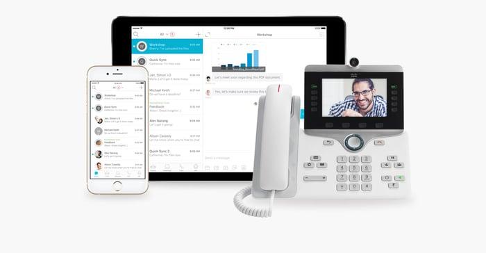 Cisco's Spark collaborative platform displayed on multiple devices.