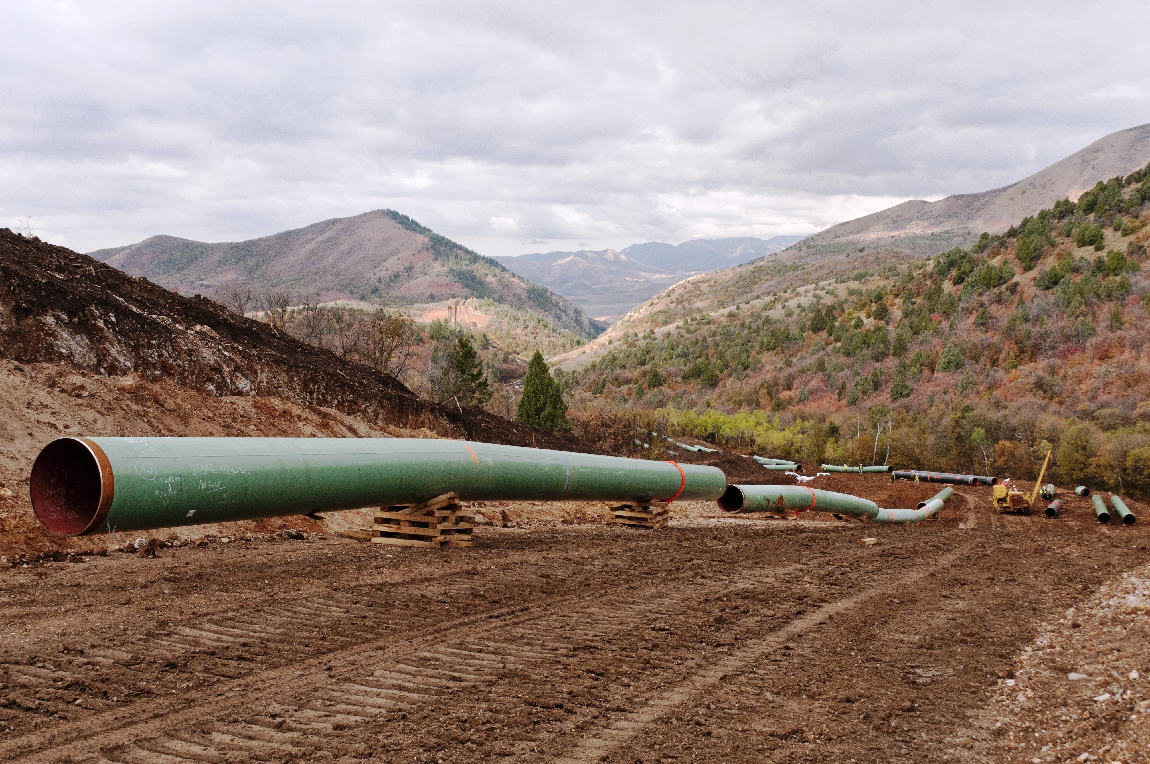 A Kinder Morgan pipeline under construction.