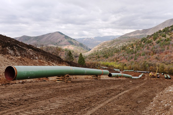 A Kinder Morgan pipeline under construction.