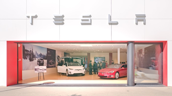 Tesla store with Model S and Model X displayed