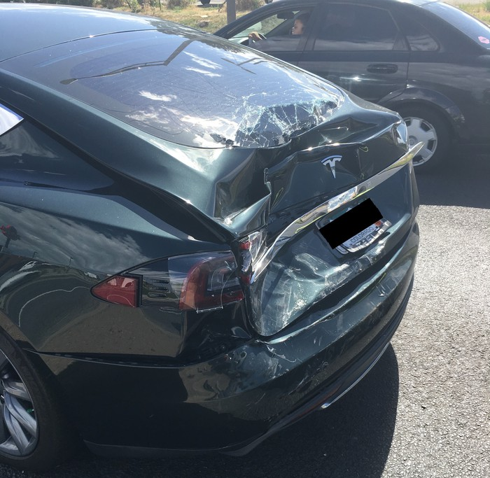 Model S with rear damage