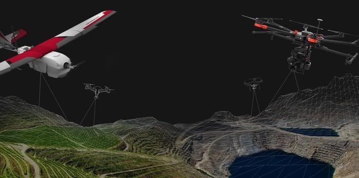 Multiple PrecisionHawk drones flying