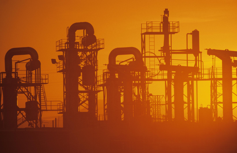 Oil refinery at sundown