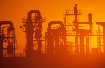 oil refinery sunset