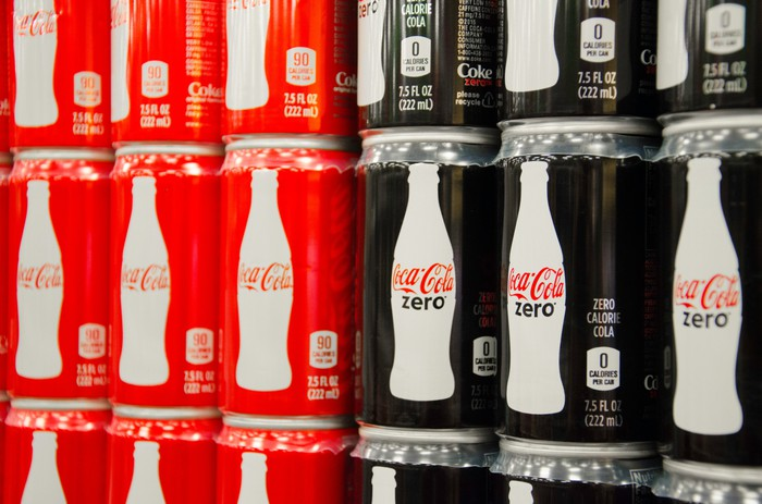 A display of 7.5-ounce Coca-Cola cans