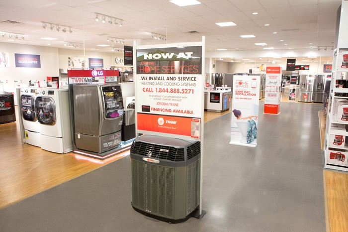 A JCPenney showroom with home appliances on display