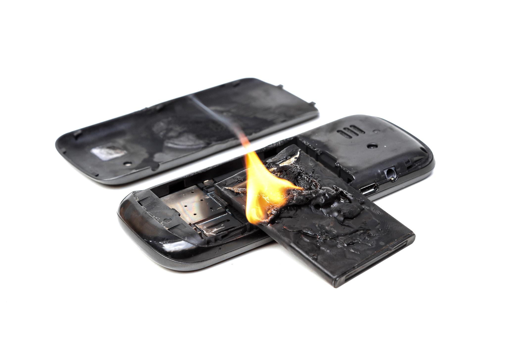 Cellphone battery on fire