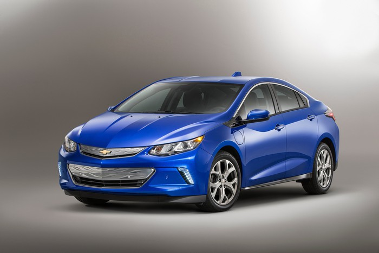 A blue 2017 Chevrolet Bolt.