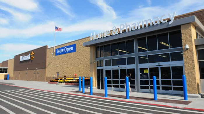 The exterior of a Wal-Mart store