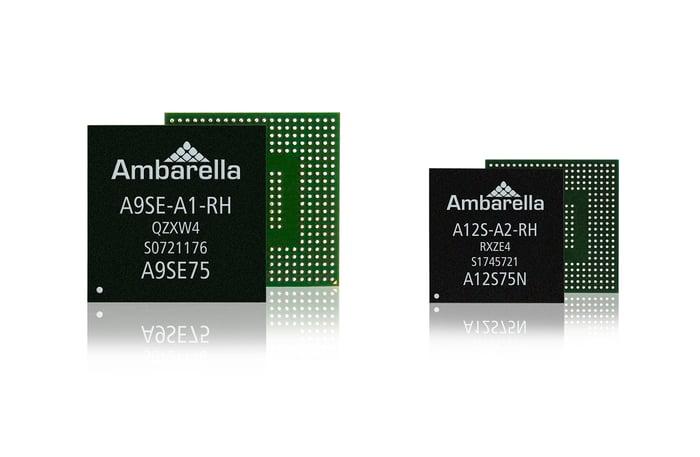 Ambarella's A9SE-A1 and A12S-A2 flying camera SoCs.