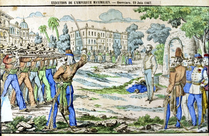 Painting of a firing squad.