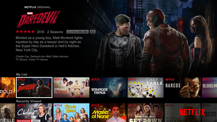 Netflix home screen.