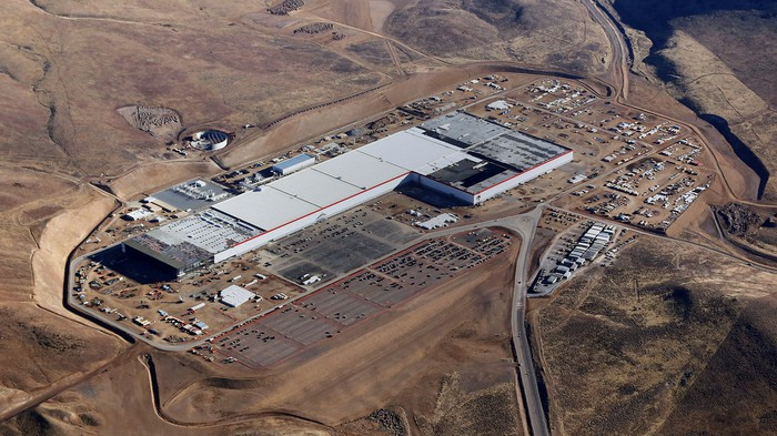 Aerial photo of Tesla's under-construction Gigafactory on January 3, 2017.