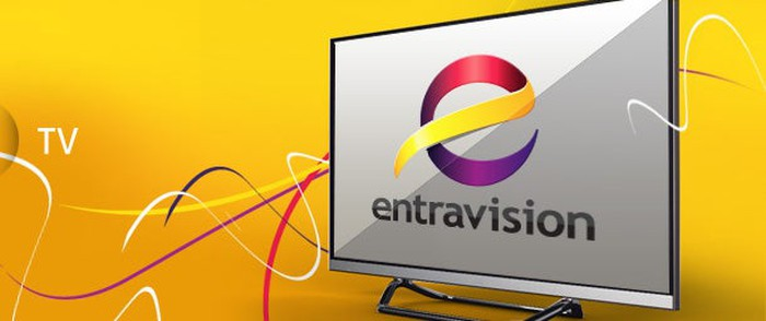 A television with the Entravision logo on it