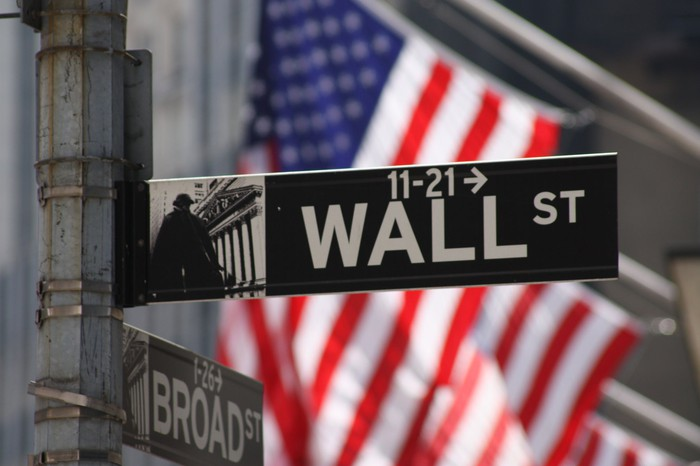 Image of Wall Street street sign with an American flag in the background.