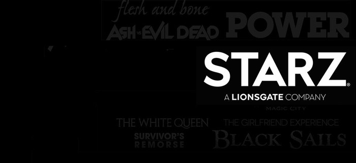 Starz Logo with show titles in background