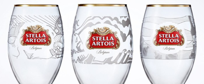 3 beer glasses etched with the Stella Artois logo