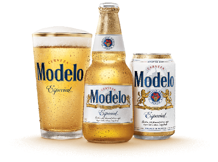 A can, bottle, and glass of Modelo Especial beer