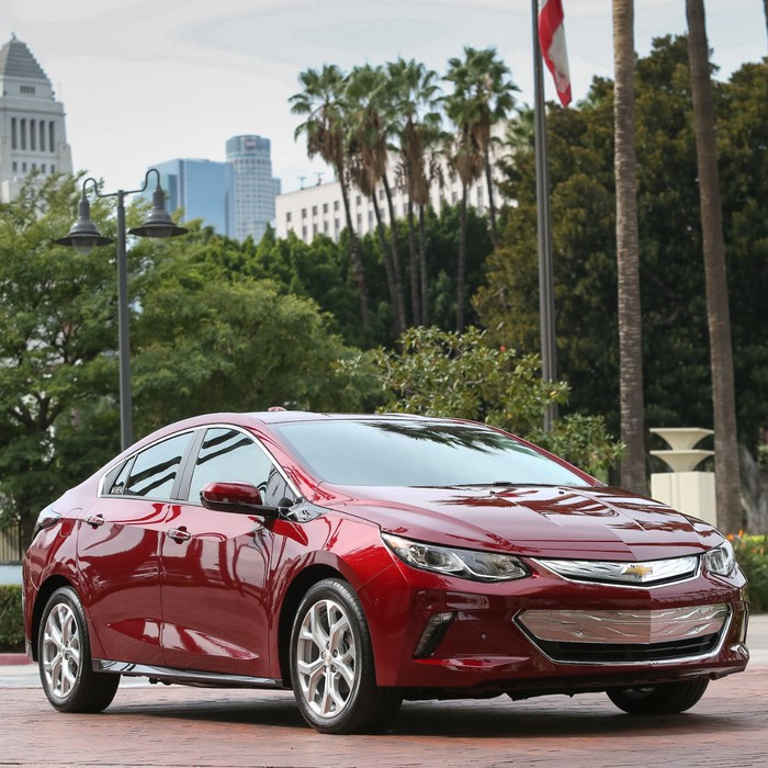A red Chevrolet Volt sedan in San Francisco.