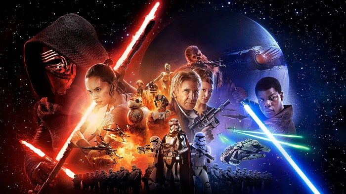 "A ""Star Wars: The Force Awakens"" poster featuring each of the main characters."