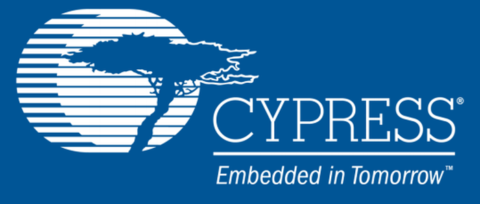 "Cypress Semiconductor logo, reading ""Embedded in Tomorrow."""
