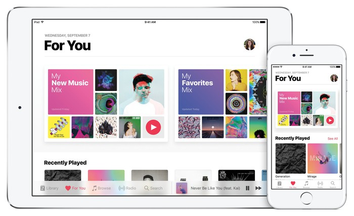 Apple Music on an iPad and iPhone.