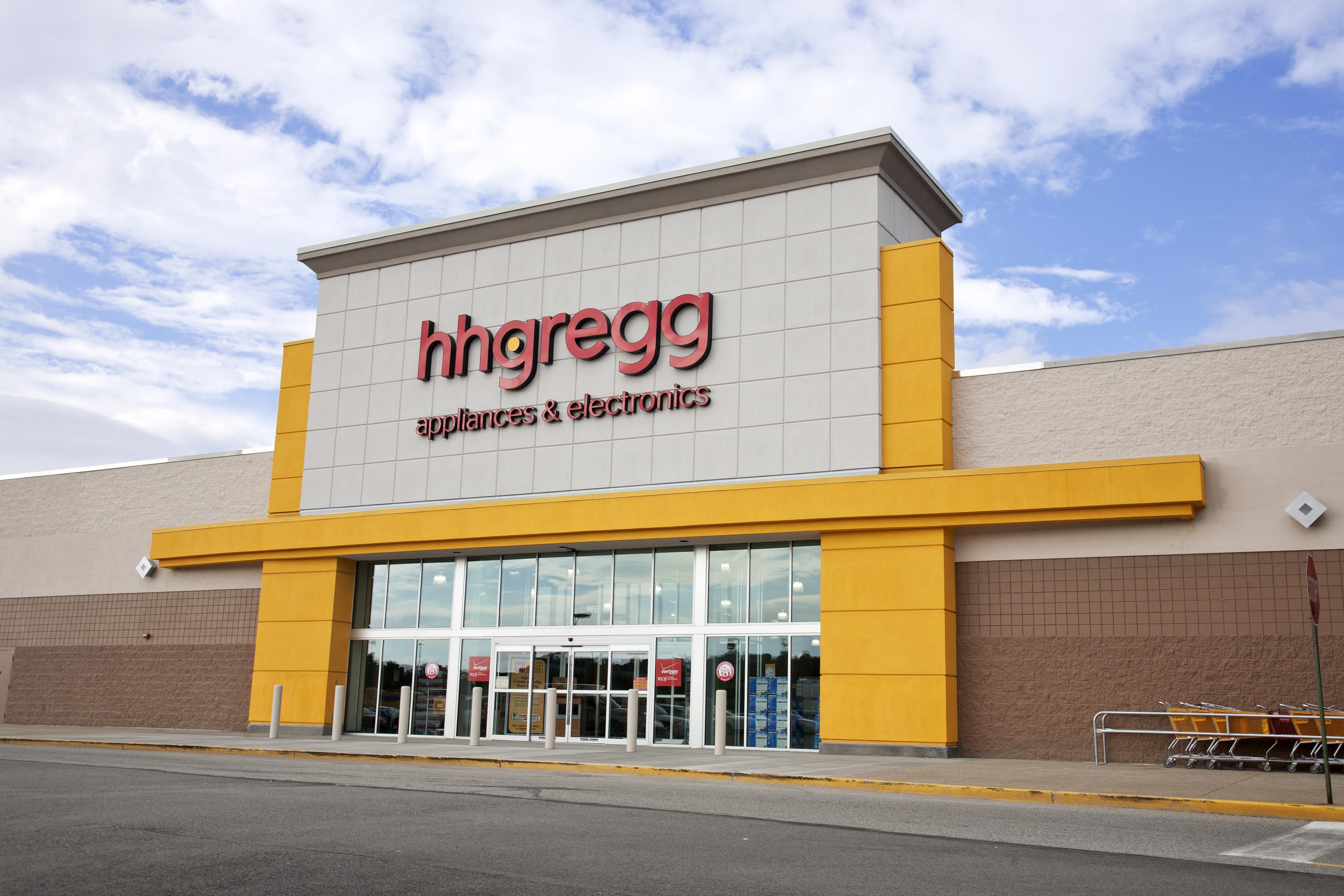 An exterior shot of an hhgregg store.