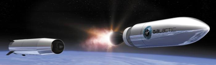 Rocket separating in orbit.