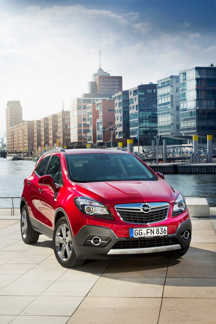 The Opel Mokka crossover parked on the waterfront.