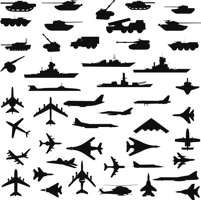 Silhouettes of military planes, tanks, and warships.