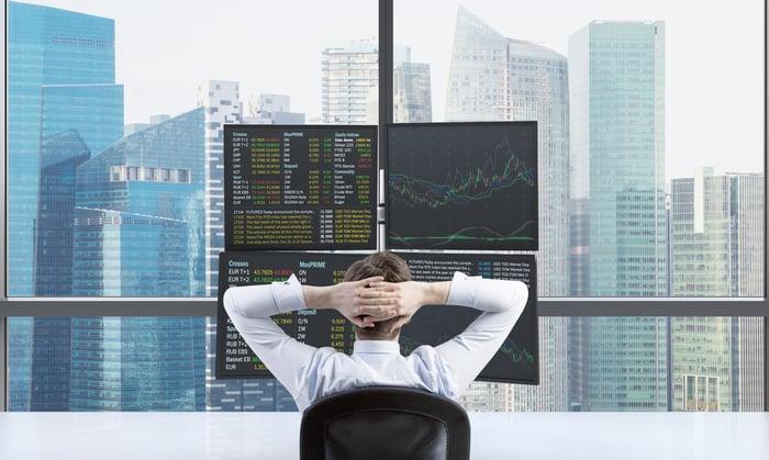 Man watching stocks.
