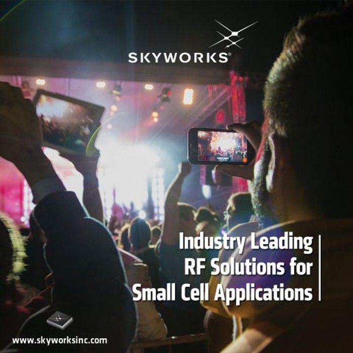 "Image showing people taking photos on their phones. Text saying ""industry leading RF solutions for small cell applications."""