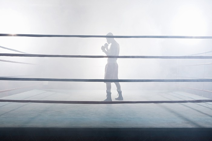 Picture of boxer in ring.