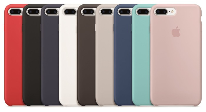 An array of iPhone 7 Plus devices with different cases.