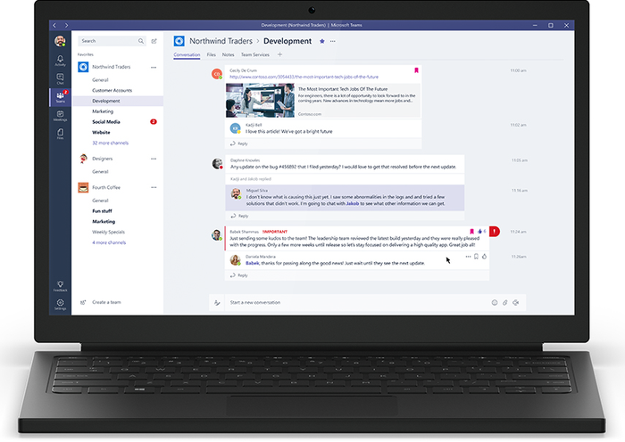 Laptop showing interface for Microsoft Teams