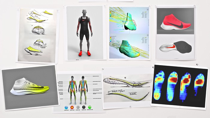 A collage of design concepts for the innovative new Nike running shoes the company hopes will help a runner break a 2 hour marathon.