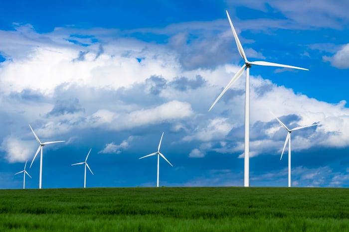 Wind turbines in a green field.
