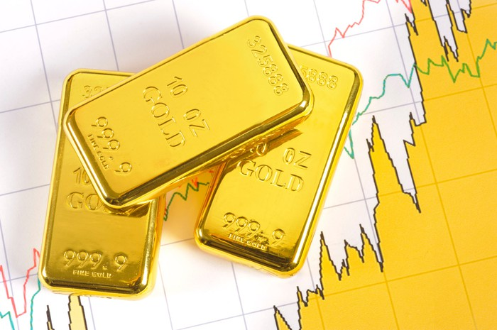 Rising stock chart next to gold ingots.