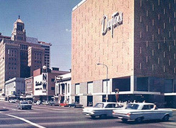 A parking lot view of a Dayton's Department Store taken in the 1950s.
