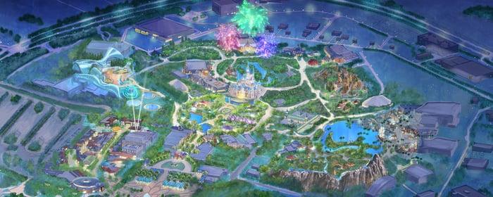 Aerial rendering of Disney Shanghai.