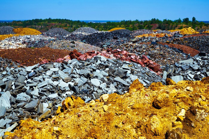 Colorful mining ore dumps