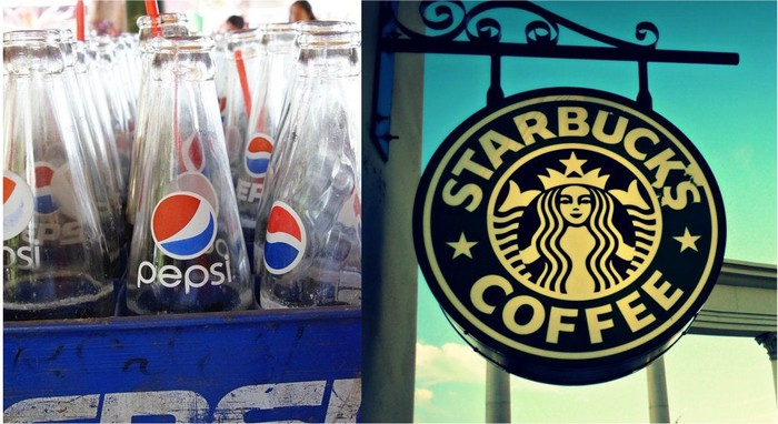 Empty bottles of Pepsi, and a Starbucks sign