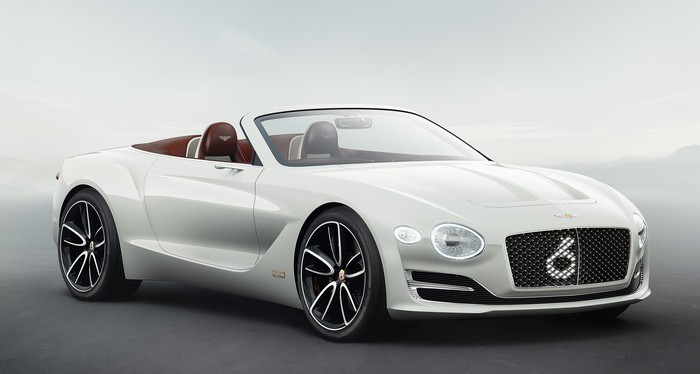 A white two-door Bentley convertible.