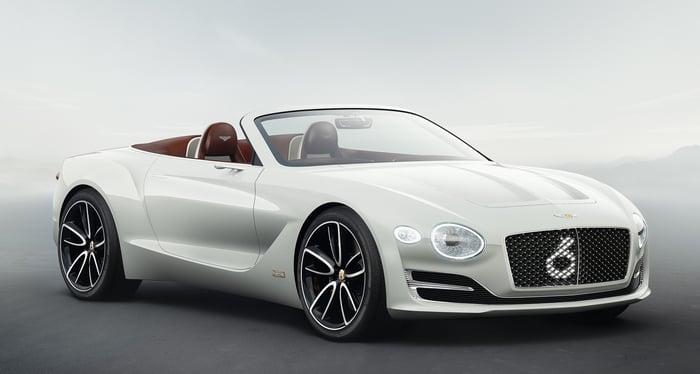 A white two-door Bentley convertible.