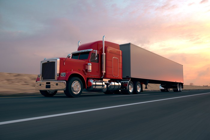 Long haul truck on the road